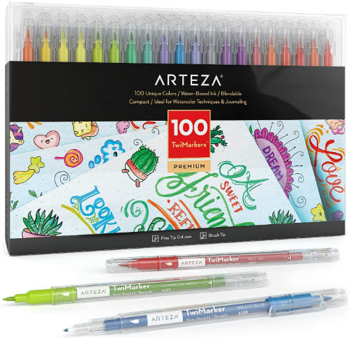 Arteza TwiMarker Double-ended lettering markers