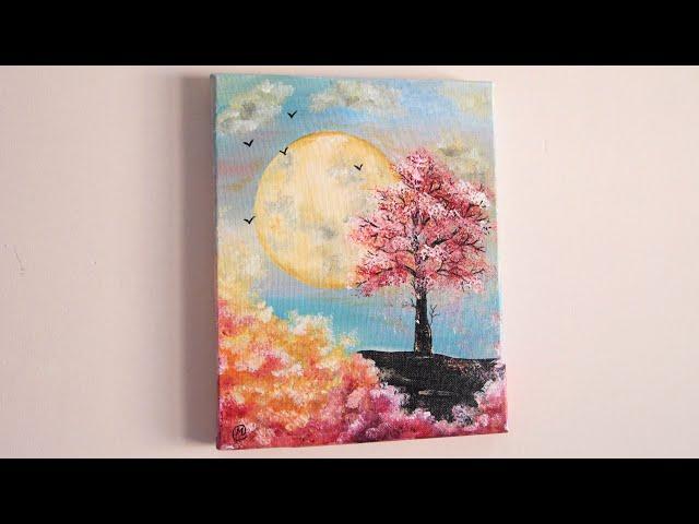 Luna a color (Pintura de un paisaje de fantasía con Luna)