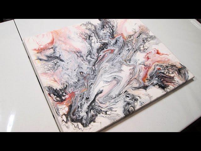Inspiración en blanco y negro/Pintura abstracta mediante pouring