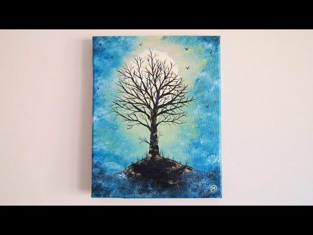 """""""Árbol bajo la luna"""" Pintura acrílica de un paisaje misterioso"""
