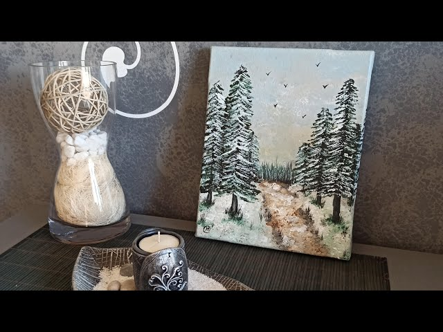 Snow in the afternoon (Painting of a winter landscape)