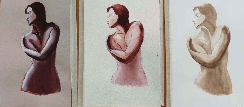 triptych nude woman