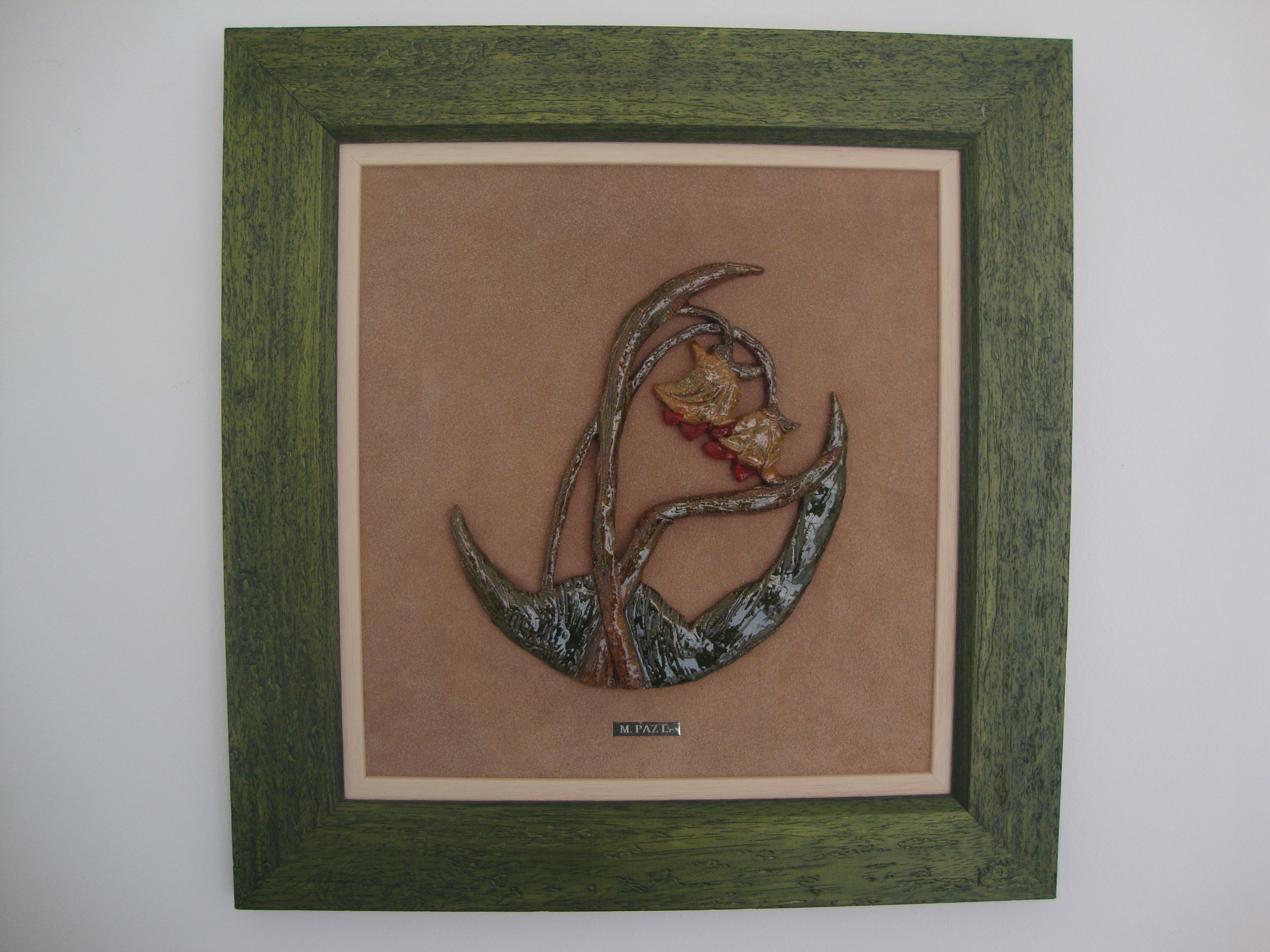Ceramic painting, flowers framed fabric