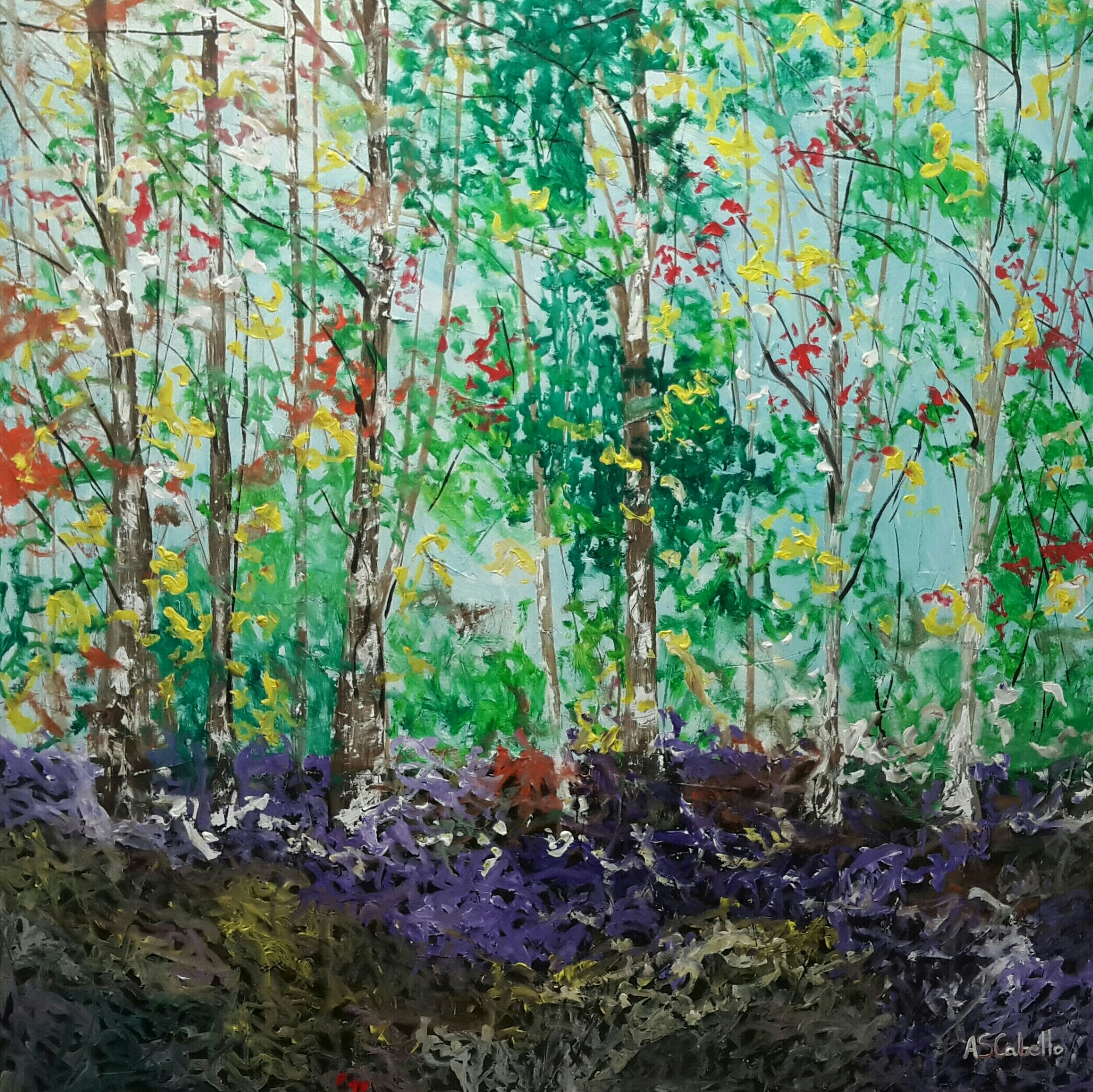 Colorful in the forest 120X120 CM.