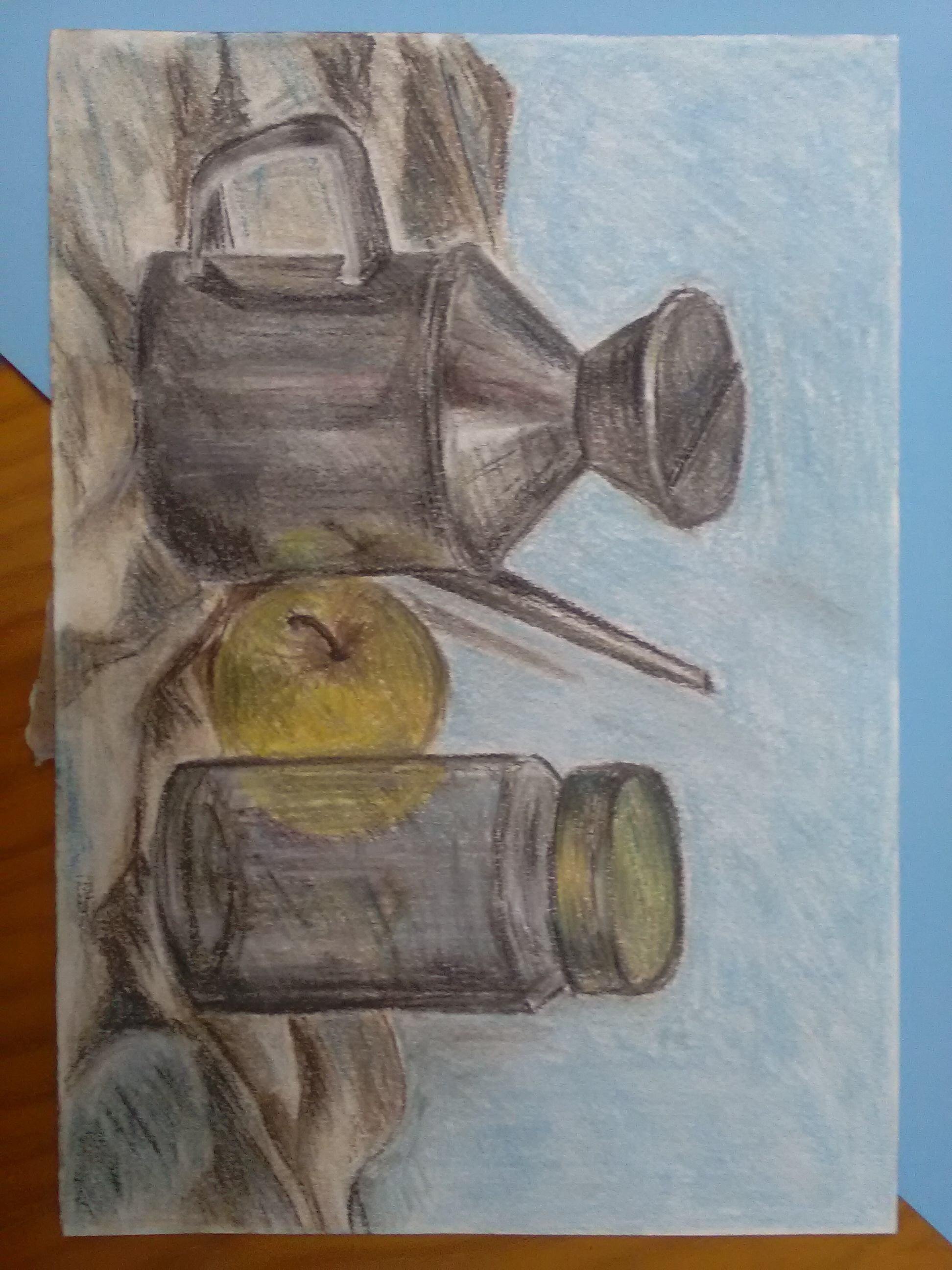 Still life jar, apple and oil