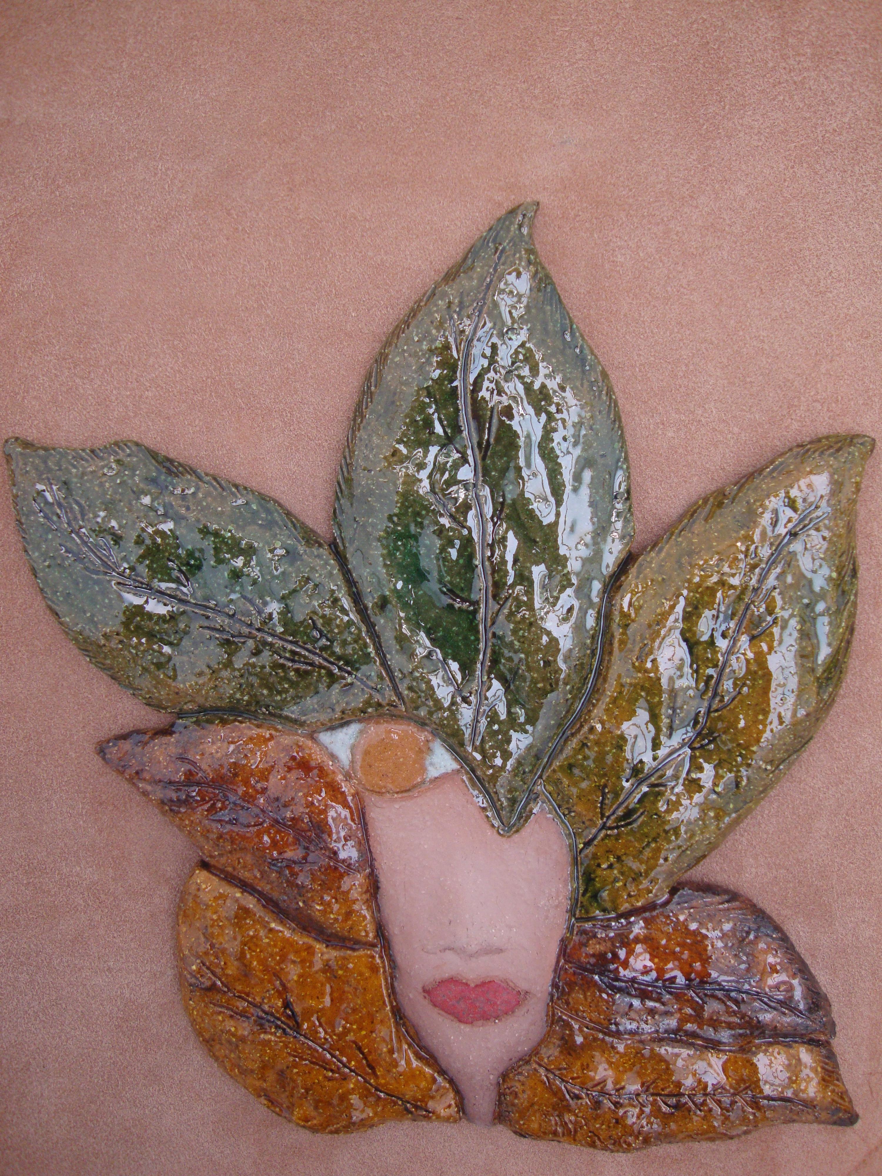Cuadro de cerámica , cara enmarcado en tela, cuadro original, Otros ...
