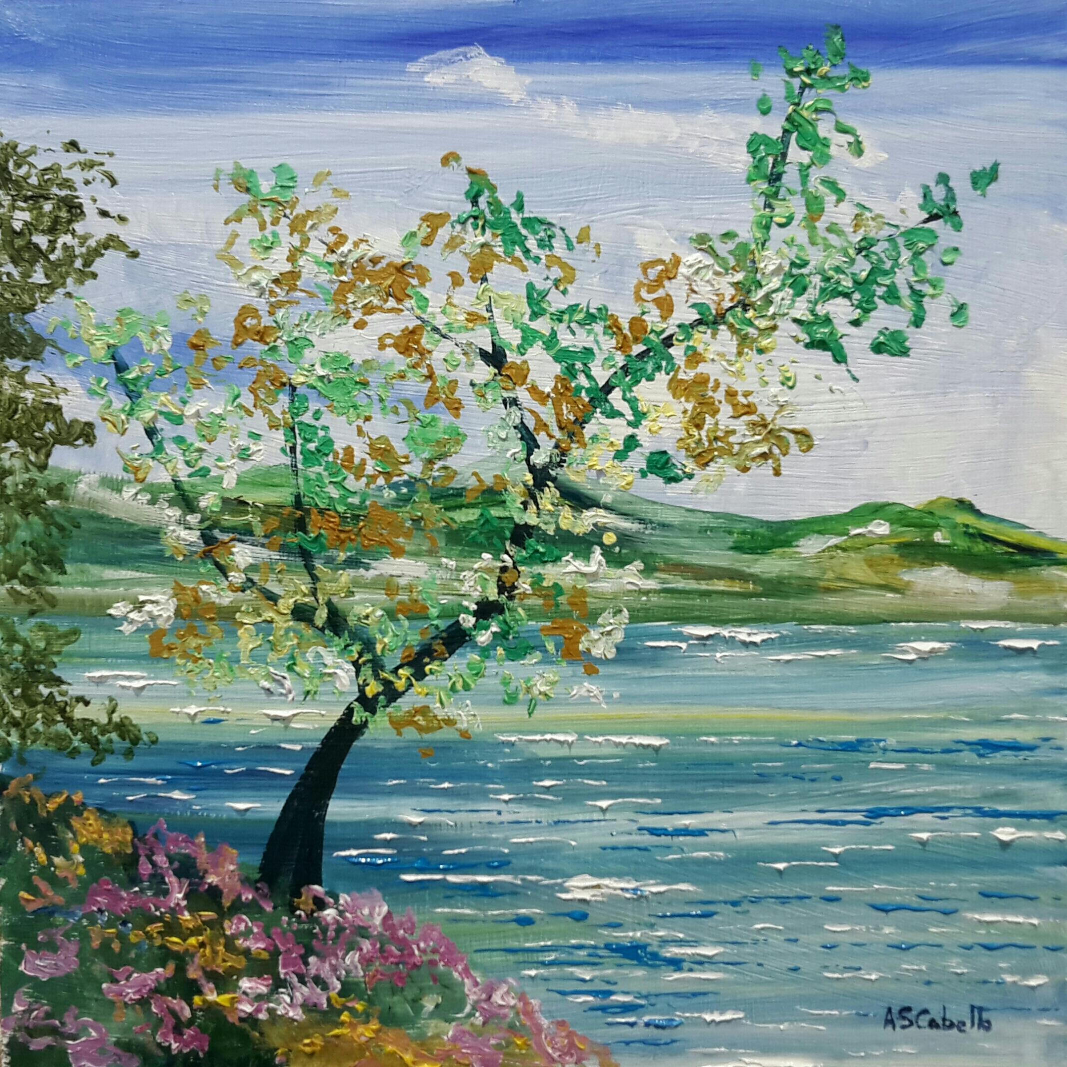 El lago con flores
