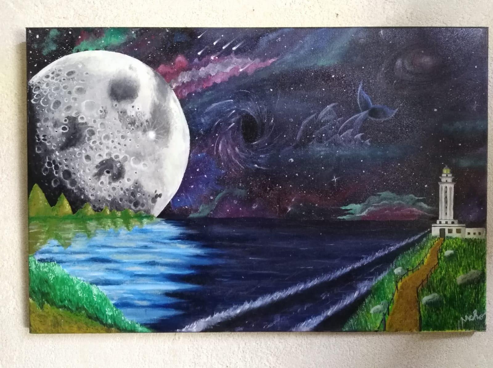 Universo marítimo con la luna fusionada en la tierra