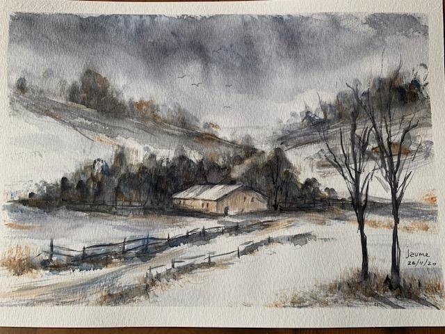 masia en invierno nevado