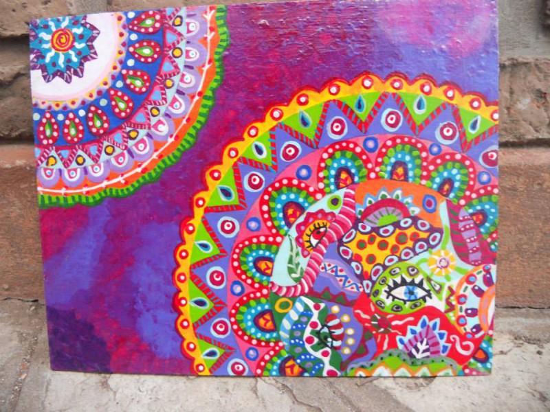 Mandala En Violeta Cuadro Original Acrilico Sobre Tabla Comprar - Pinturas-de-mandalas