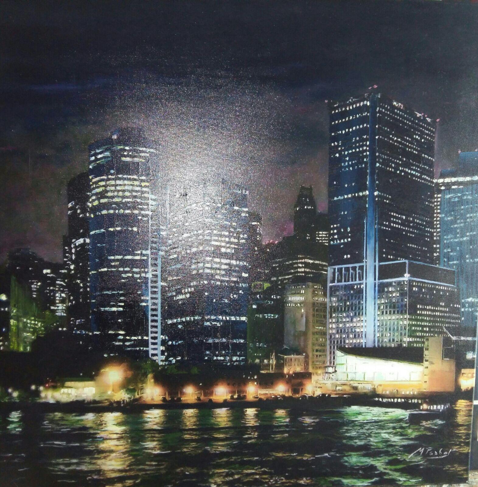 Vista Nocturna de la Ciudad de Nueva York