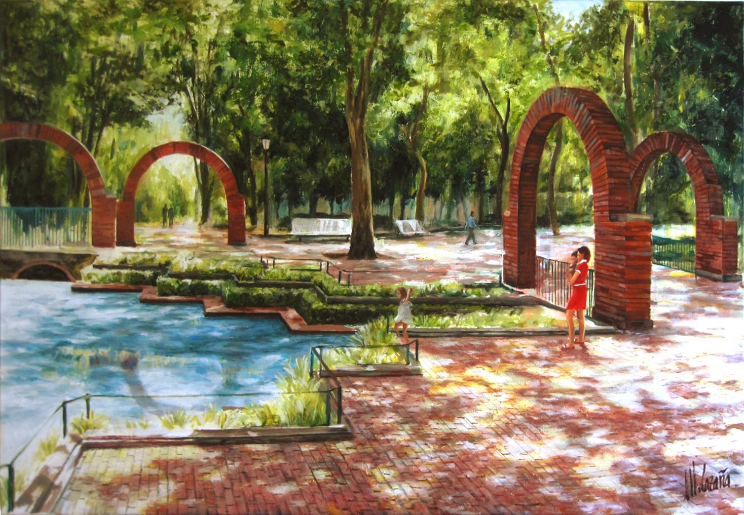 Parque de la Media Luna, Pamplona. Pinturas al óleo modernas
