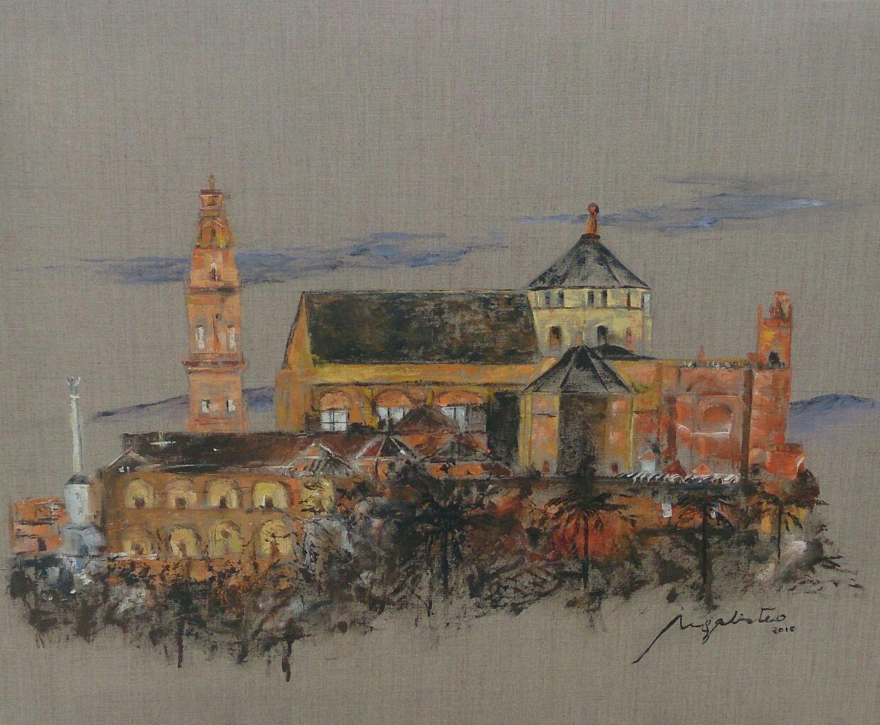 Mezquita de c rdoba de noche cuadro original leo sobre - Mezquita de cordoba de noche ...