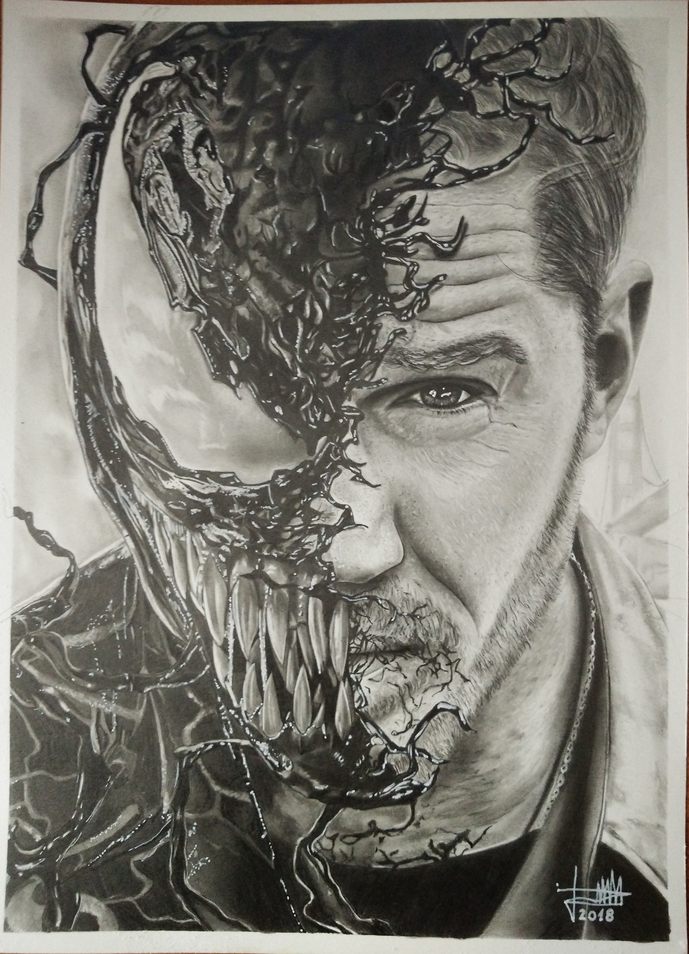 Venom - Drawing made in pencil and charcoal
