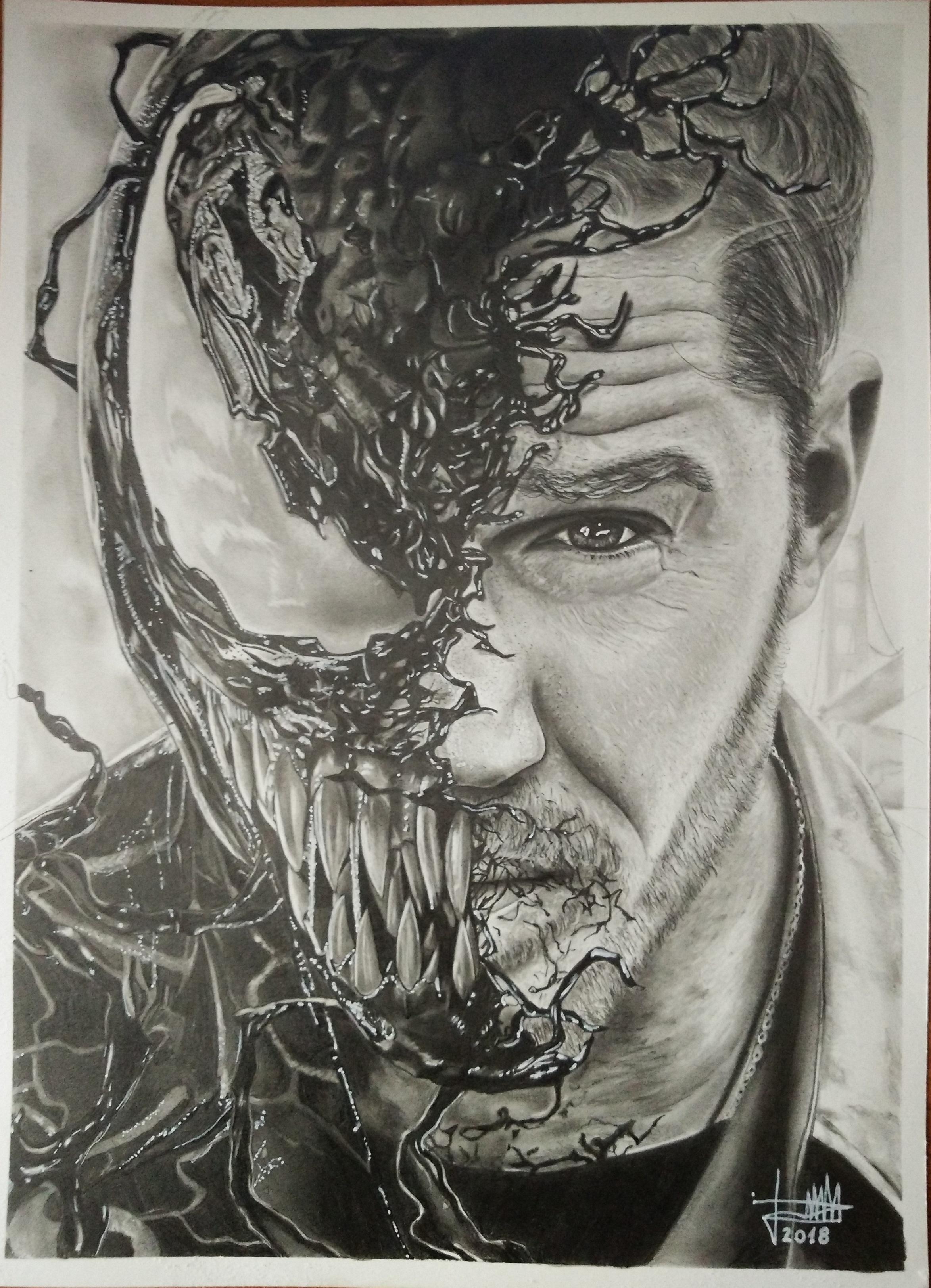 Venom - Dibujo hecho a lápiz y carboncillo