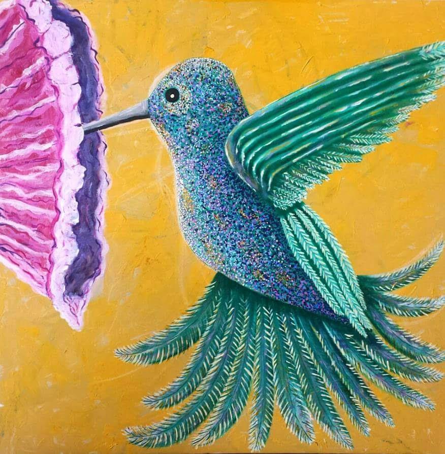 Hummingbird with Dahlias