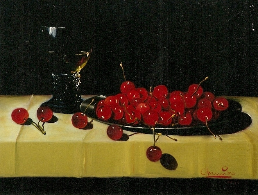 DISH WITH CHERRIES AND CUP