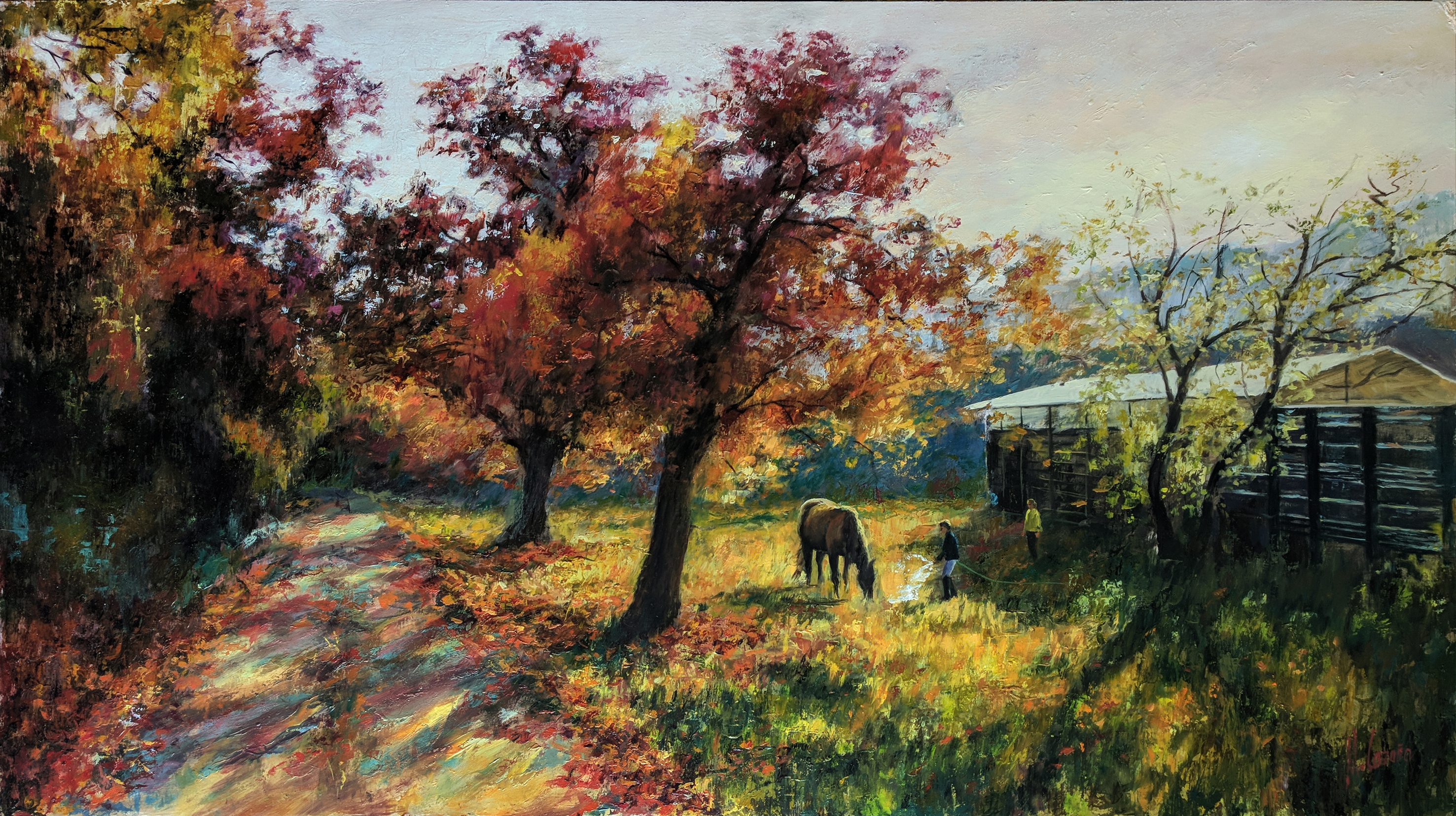 Sunset landscape with horses. Pictures for living room and bedroom