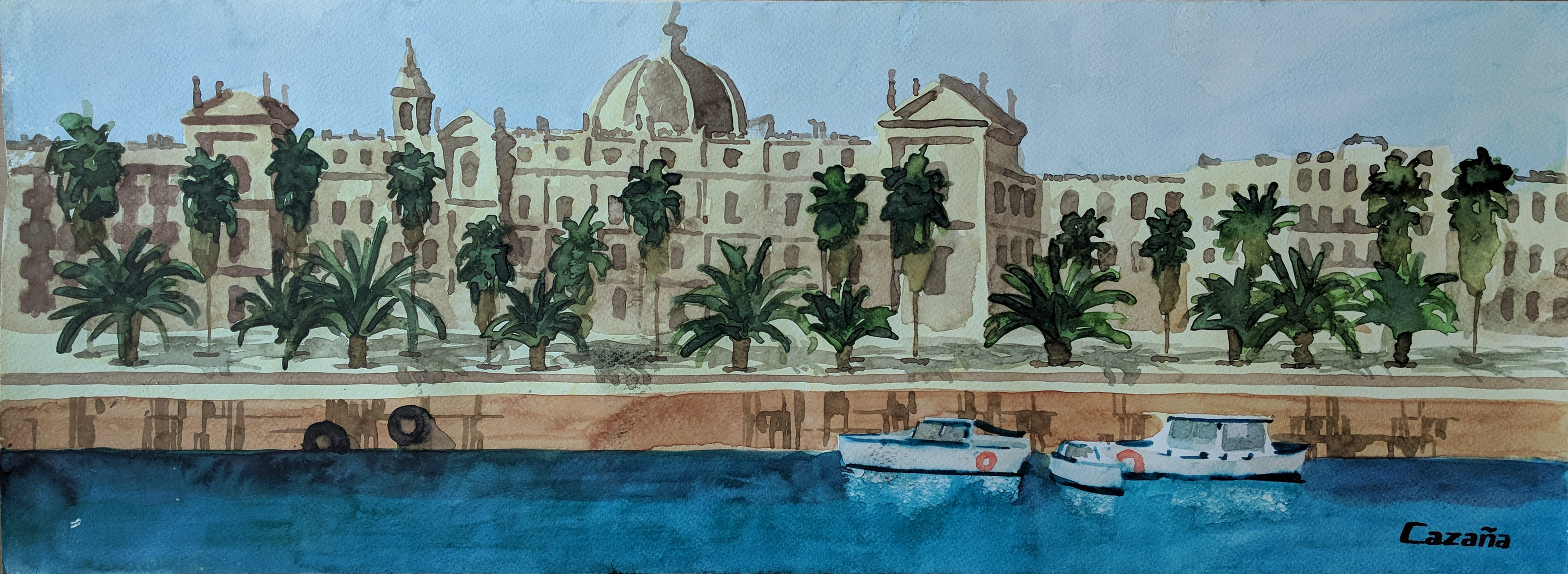 Port Vell of Barcelona. Original paintings online