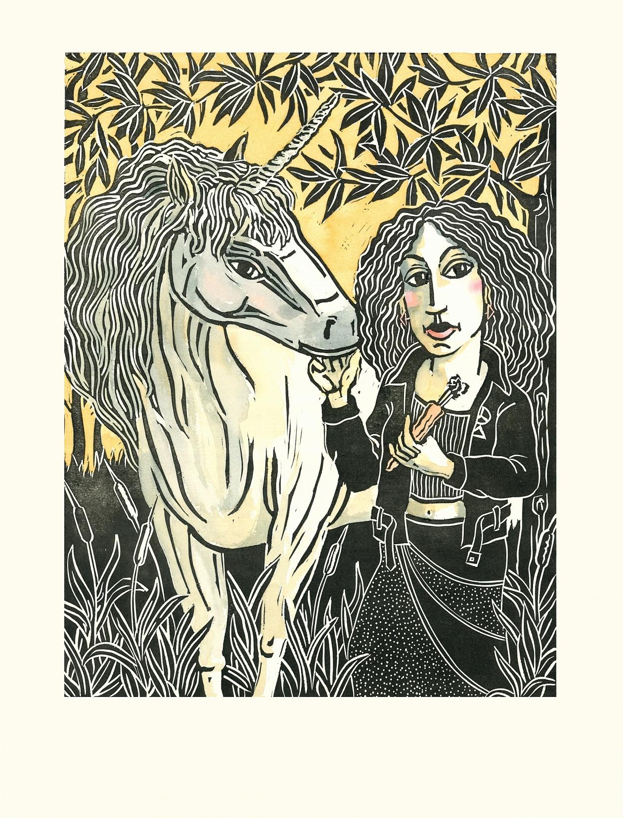 Mujer con unicornio grabado original 50 x 38 cm