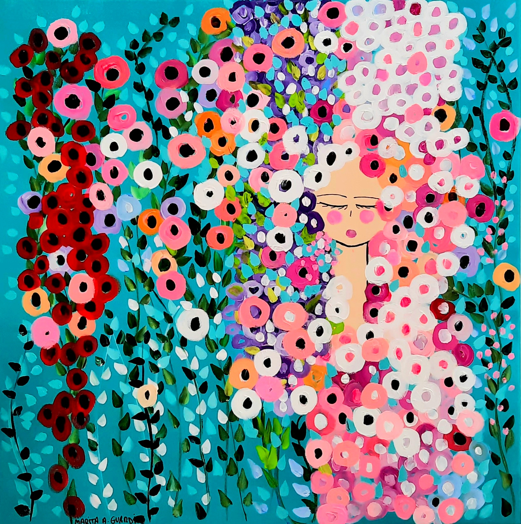 BEHIND OF THE FLOWERS- 90x90cm