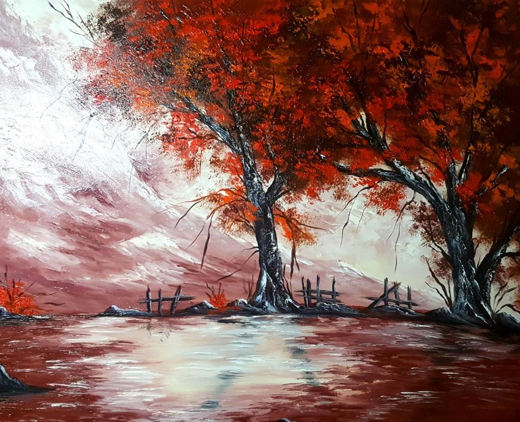 PAISAJE SILENCIOSO...lienzo pintado 100x80 cm 20% DESCUENTO