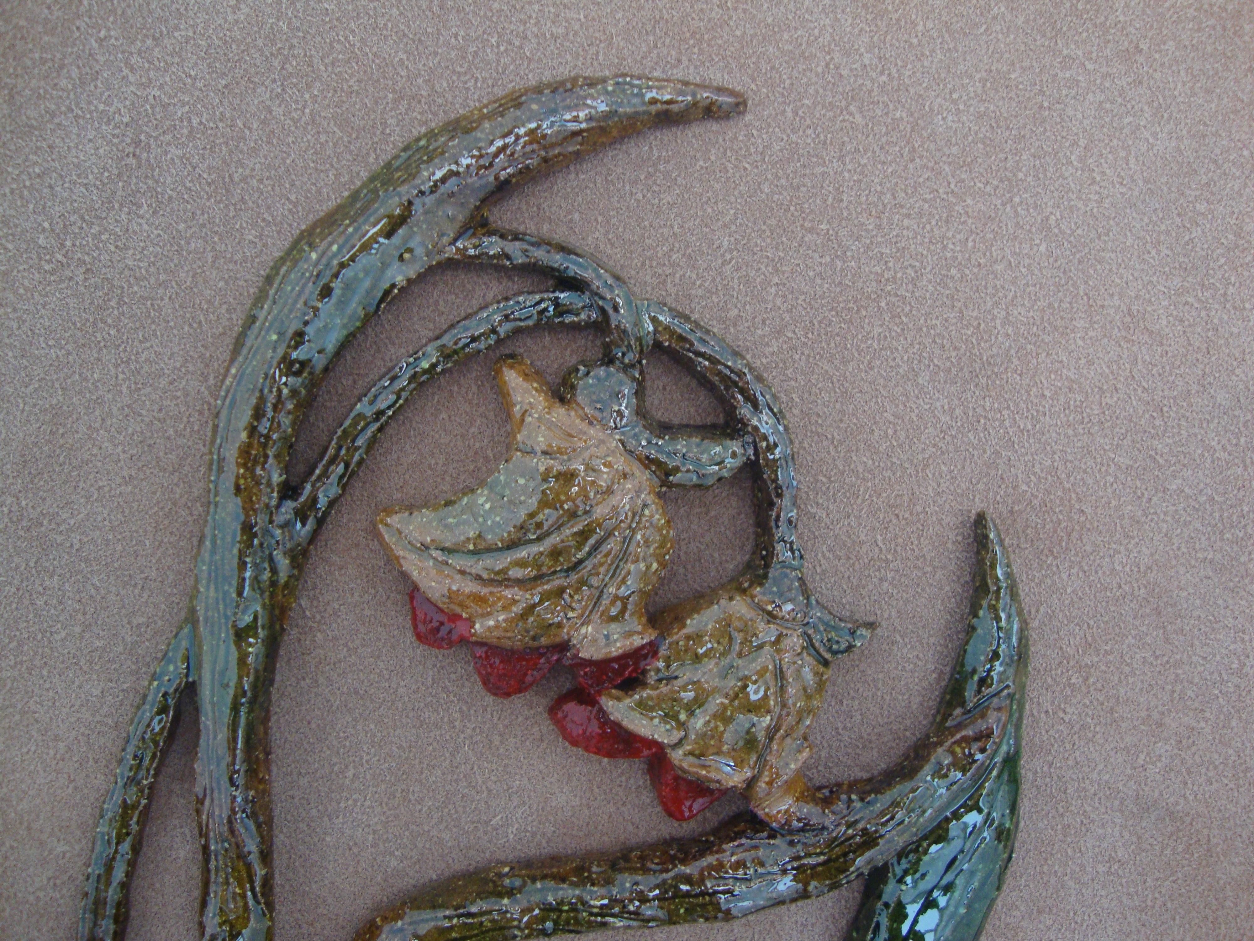Cuadro cerámica, flores enmarcado en tela, cuadro original, Otros ...