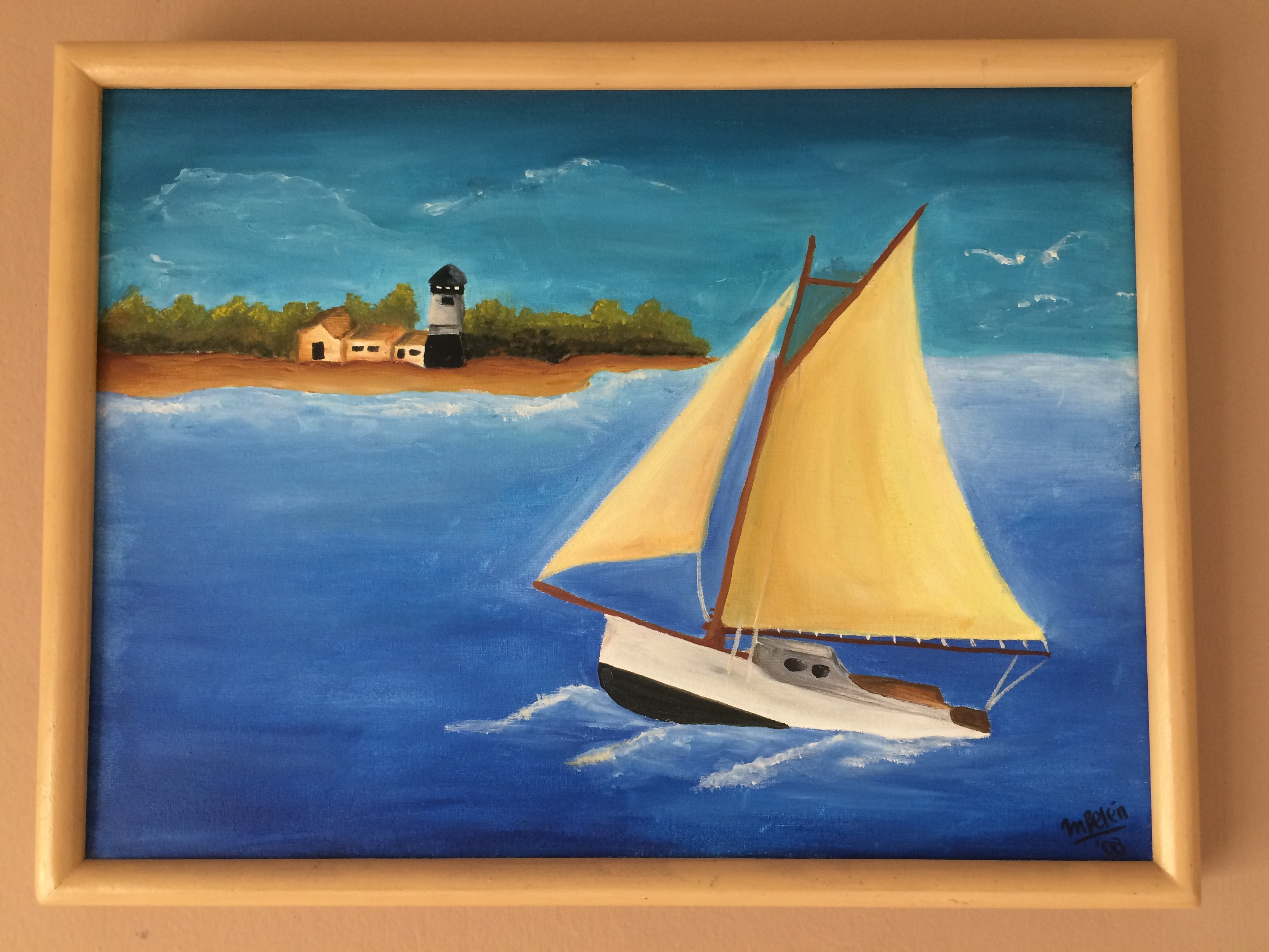 Paisaje al oleo barco en el mar cuadro original leo for Imagenes de cuadros abstractos texturados
