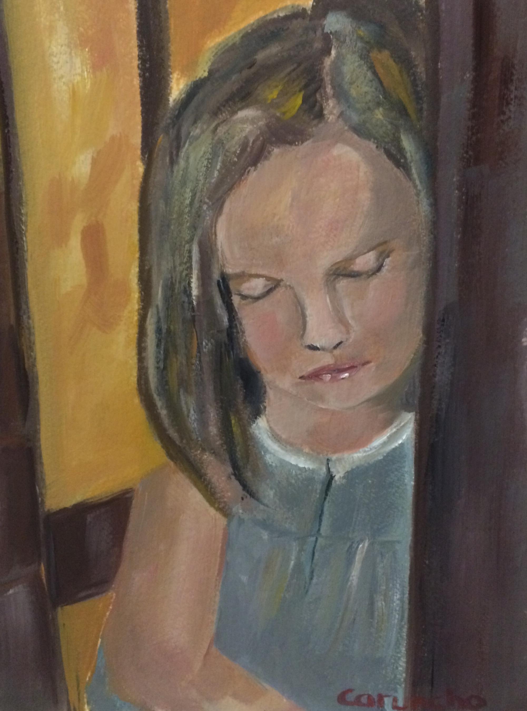 Little girl in the corridor