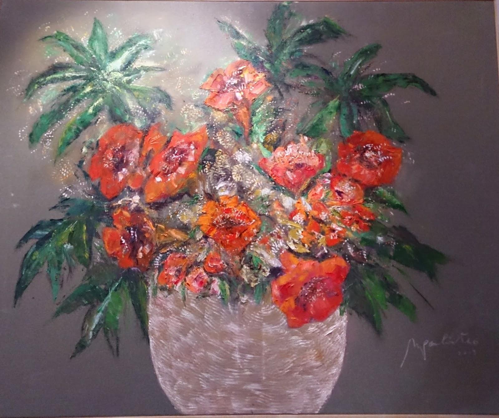 Flores en granate