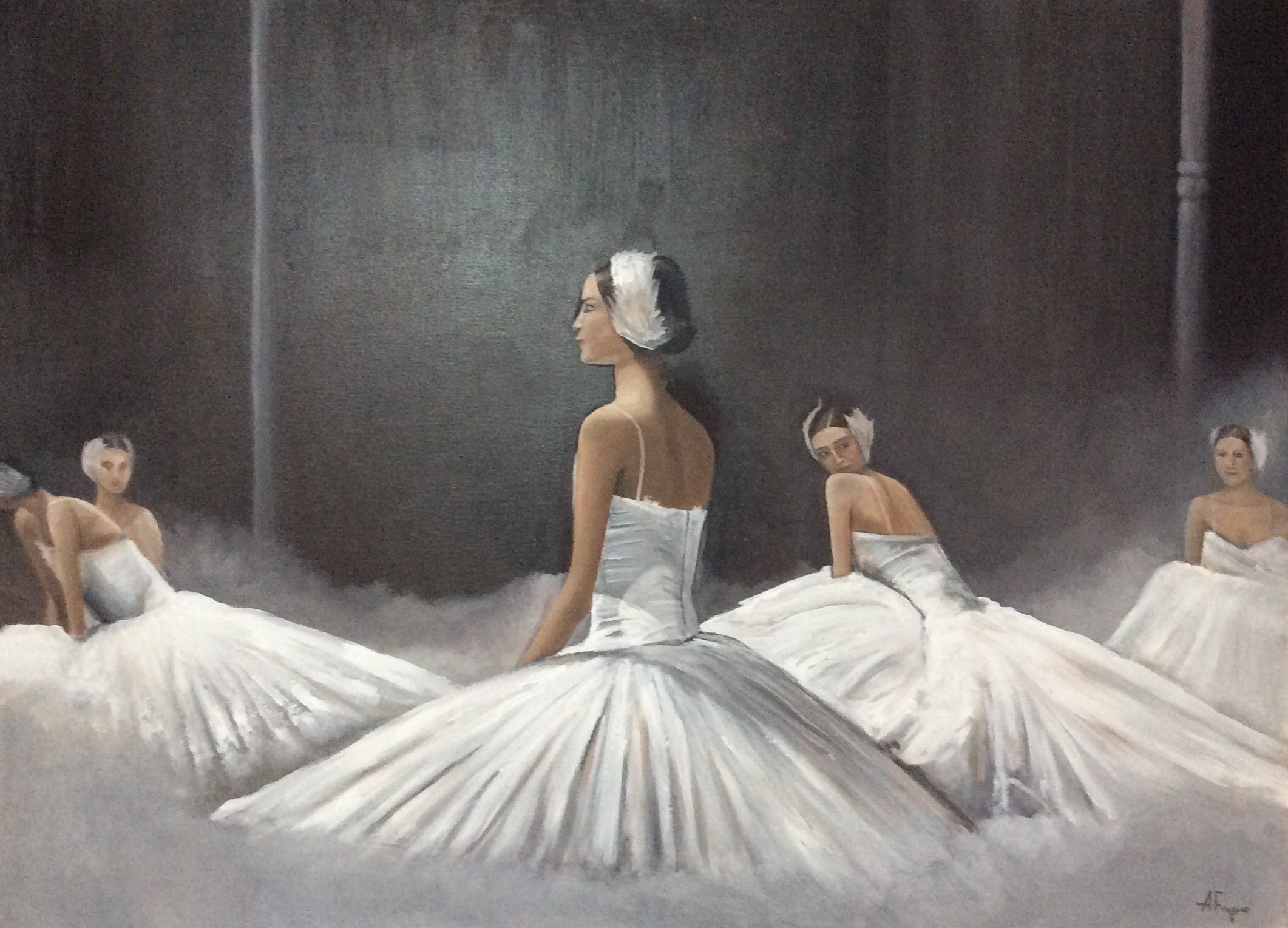 Bailarinas De Ballet., Cuadro Original, Acrílico Sobre