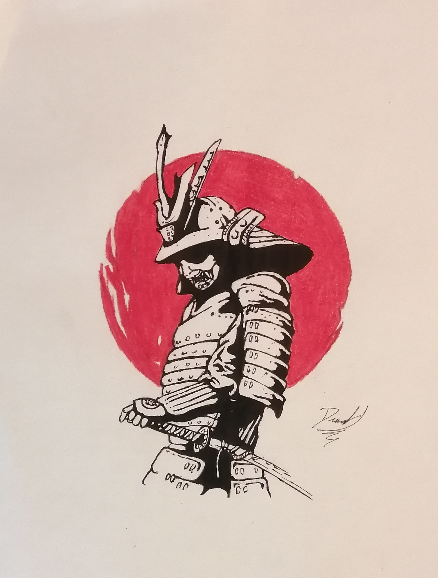 La Concentracion Del Samurai Lapiz Rotulador Tecnica Mixta Tinta Dibujos Comprar Arte Original