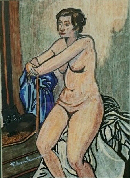 Nude with black cat