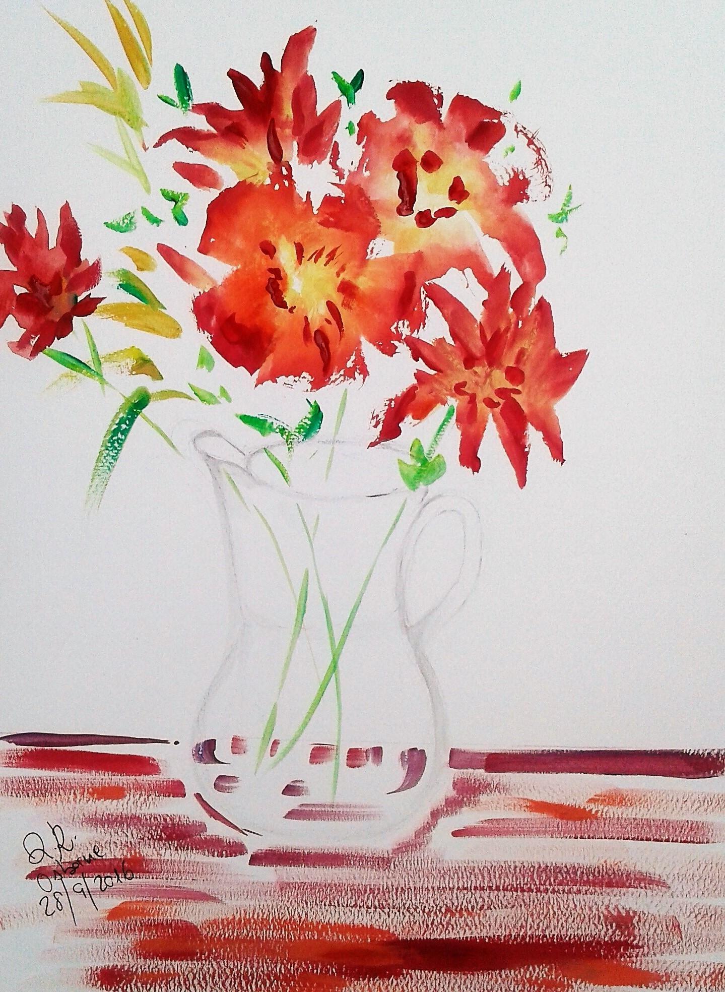 ORANGE FLOWER JARON