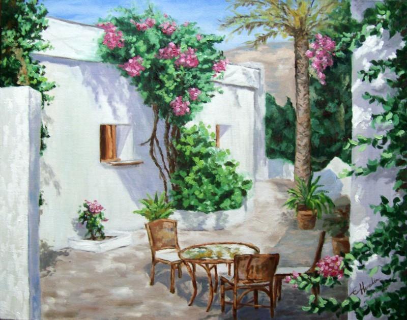 Patio andaluz cuadro original leo sobre lienzo comprar - Imagenes de patios andaluces ...