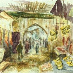 Acuarela de la medina de Fez