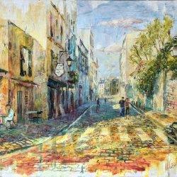 Camino a Montmartre. Paris. Cuadros originales pintados a mano