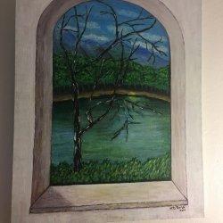 Paisaje de río a través de ventanal