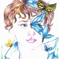 Child with butterflies