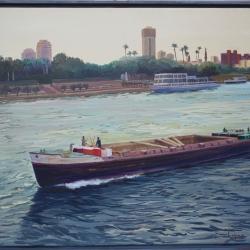 Barcaza navegando por el Nilo