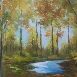 Tranquility ... Landscape painted 60x40 cm