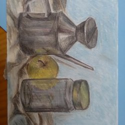 Still life jar, apple and oil