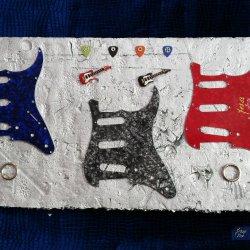 Guitarra color alta decoración reciclado