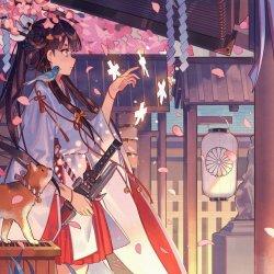 Anime girl with kimono