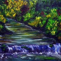 Bluish waterfall.