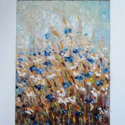 Las manzanillas y los acianos. Las flores de campestres.