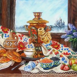 Bodegón ruso con samovar