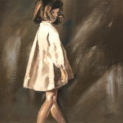 The girl in the white coat
