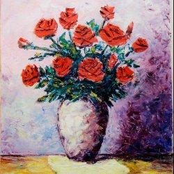 Jarron con rosas rojas