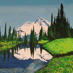 Reflejo en el lago azul